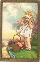 1933 Children art postcard, girl with roses. Amag 2264.