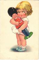 1934 Cellaro Dolly-Serie Children art postcard, girl with toy (kis szakadás / small tear)