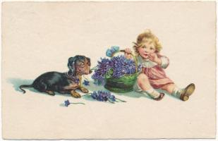 1934 Children art postcard, girl with flowers and Dachshund dog