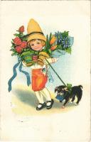 1931 Children art postcard, dog. G.G.K. No. 1395. (EK)