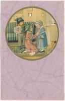 1935 Children art postcard, Christmas