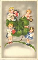 New Year greeting Children art postcard with clover (EK)