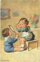 1933 A Ladies Man Children art postcard, romantic couple (EK)