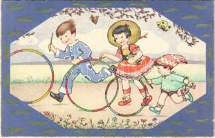 1936 Children art postcard, playing. Rokat 152.