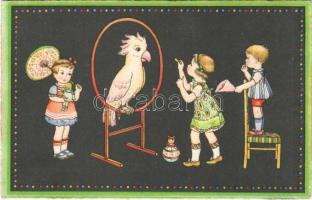 1936 Children art postcard, parrot. Rokat 158. (EK)
