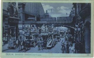 1907 Berlin, Bahnhof Friedrichstrasse / street view, horse-drawn omnibus, automobile, autobus, shops, railway station, elevated railway (fl)