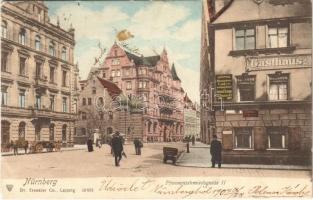 1902 Nürnberg, Nuremberg; Pfannenschmiedsgasse, Gasthaus / street view, inn (fl)