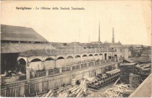 Savigliano, Le Officine della Societa Nationale / industrial company, sawmill, lumber yard, railway material (fl)