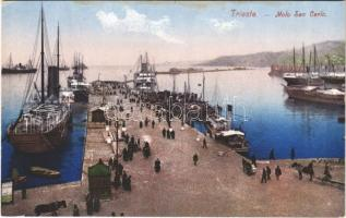 Trieste, Trst; Molo San Carlo / port, quay, steamship (fl)