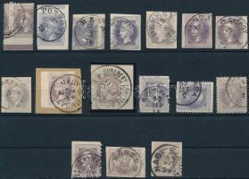 16 db Hírlapbélyeg magyar érkezési bélyegzésekkel közte jó típusok, színváltozatok, magánfogazás, ívszéli bélyeg stb.