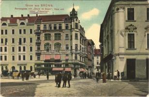 1907 Brno, Brünn; Rennergasse mit Stock im Eisen, Haus und Hotel Pilsnerhof, Glas Porzellan u. Steingutwaren / street, hotel, shops