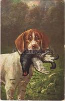 Hunting dog with prey, hunter art postcard