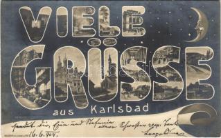 1904 Karlovy Vary, Karlsbad; Viele Grüsse! / Aristophot Art Nouveau greeting, night