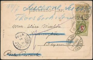 1904 Képeslap Budapestről Bajorországba, továbbküldve Svájcba, ott portózva