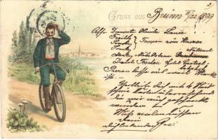 1899 Gruss aus... / man on a bicycle. litho (felületi sérülés / surface damage)
