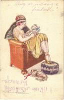 1922 Lady with cats. Italian lady art postcard. 679-4. s: Bompard (EK)