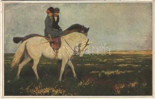 1917 Im blühenden Ginster / Romantic couple on horseback. Wohlegmuth & Lissner Kunst-Kenner-Karte No. 512. s: F. Müller (EB)
