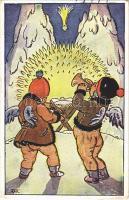 1937 Vánocní Pozdrav! / Christmas greeting art postcard s: M. Fischerová-Kvechová (Rb)