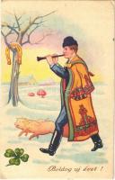 1941 Boldog Újévet! / New Year greeting art postcard, Hungarian folklore, man with pigs (EK)