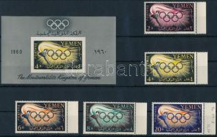 1960 Nyári olimpia ívszéli sor Mi 200-204 + blokk Mi 2