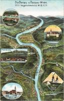 Donau von Passau-Wien. Vogelschaubild No. 8. / map with Danube river. Atelier E. Felle