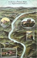 Donau von Passau-Wien. Vogelschaubild No. 9. / map with Danube river. Atelier E. Felle