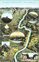 Donau von Passau bis Wien. Vogelschaubild N. III. / map with Danube river. Atelier E. Felle