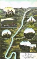 Donau von Passau bis Wien. Vogelschaubild N. II. / map with Danube river. Atelier E. Felle