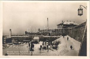 Beograd, Belgrade; La fortreresse de Kalimegdan lhiver / fortress in winter