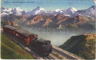 1930 Rigibahn, Rigi-Scheidegg und die Alpen / rack railway, train (EB)