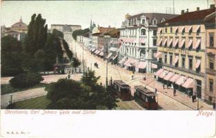 Oslo, Christiania, Kristiania; Carl Johans Gade med Slottet / street view, hotel, tram, castle (EK)