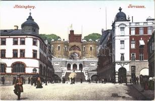 Helsingborg, Terrassen / street view, medieval tower