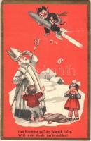 ~1950 Der Krampus soll der Sputnik holen, Weil er die Kinder hat bestohlen / Krampus on rocket, Saint Nicholas / Krampusz rakétán és Mikulás (fa)