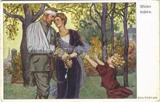 1915 Wieder daheim / WWI German military art postcard, injured soldier at home s: Franz Staffen (EK)