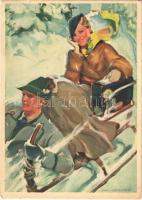 Winter in Deutschland. Nach einem Plakat der Reichsbahnzentrale für den Deutschen Reiseverkehr / Winter sport, sledding, Germna travel advertisement s: Heiligenstaedt (EB)