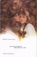 1923 Boy Scouts Motto: One Kind Act a Day Romantic couple art postcard. Reinthal & Newman Pubs. No. 758. s: Philip Boileau