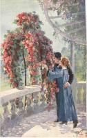 1920 Romantic couple. Italian lady art postcard. Serie 1027-4. artist signed (vágott / cut)