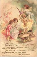 1900 Blumen-Elfen No. 770. / Fairies. Children art postcard. A. Sockl litho (EK)