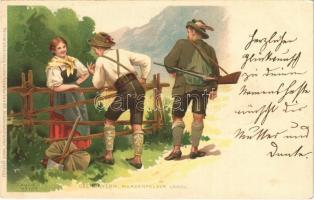 1900 Oberbayern, Werdenfelser Landl / Bavarian folklore, traditional costumes, hunter. Meissner & Buch Künstler-Postkarten Serie 1019. Deutsche Volkstrachten litho s: Kunz-Meyer