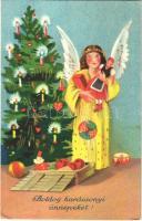 1933 Boldog karácsonyi ünnepeket / Christmas greeting art postcard, Angel with toys by the Christmas tree (EK)