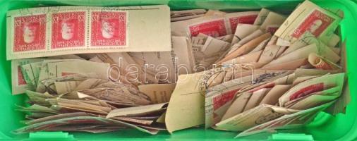 Bosznia Hercegovina több száz bélyeg pénzutalvány kivágásokon különféle helység- és egység bélyegzésekkel