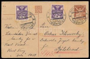 Csehszlovákia 1921 Díjkiegészített díjjegyes levelezőlap a karlovy vary cionista kongresszus alkalmi bélyegzésével Jugoszláviába