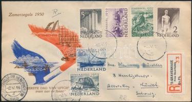 Hollandia 1950 Nyári bélyegek teljes sor elsőnapi ajánlott levélen Svájcba (Mi EUR 1.400.-)