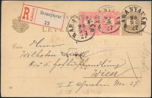 1899 2kr díjjegyes milleniumi képeslap 2 x 5kr díjkiegészítéssel ajánlott küldeményként Bécsbe