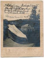 1917 Kelet-Galícia (Markopol ?), német tisztek szemrevételezik az osztrák-magyar katonai állásokat a levéltár előtt, római temető / WWI K.u.K. military front with German soldiers. photo (non PC) (8,5 x 7,3 cm)