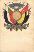 Zur Erinnerung an den Welt-Krieg 1914-17. / Központi hatalmak zászlói, dombornyomott / Flags of the Central Powers, WWI military propaganda. Emb. (EB)