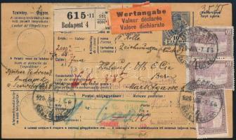 1920 Értékcsomag szállítólevél Svájcba 35,80K bérmentesítéssel