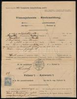 1904 Visszajelentés Tiszaföldvárról Szentesre küldött kézbesíthetetlen utánvételes csomagról, feladó kéri a kézbesítés megismétlését. Turul 25f bérmentesítéssel, alul hiányos. Ritka nyomtatványfajta!!