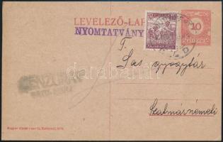 1920 Nyomtatványként feladott díjkiegészített díjjegyes levelezőlap lemezhibás díjjeggyel, hátoldalán előnyomott gyógyszer árjegyzékkel Budapestről Szatmárra, ottani román cenzúrával