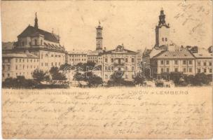 1903 Lviv, Lwów, Lemberg; Plac Sw. Ducha / Heiligengeist Platz / square, tram (cut)